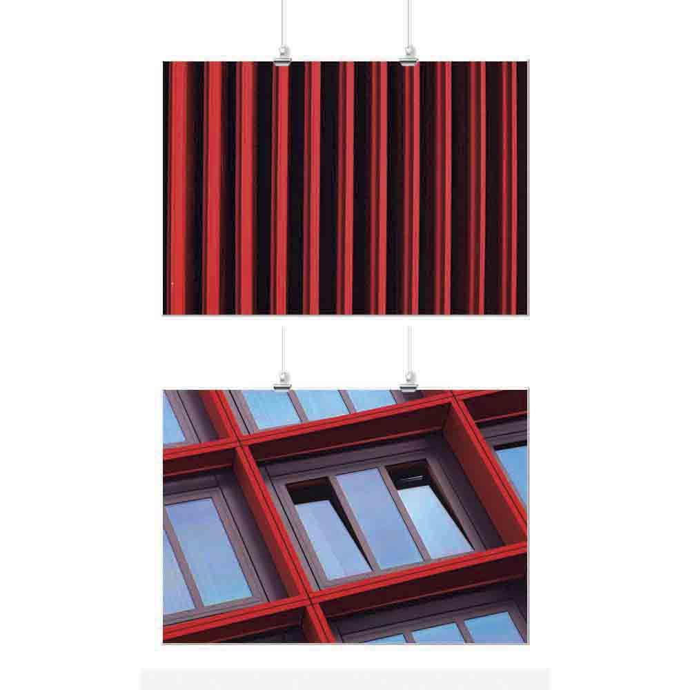 Pôster Conjunto Vermelho Geométrico 2 Unidades