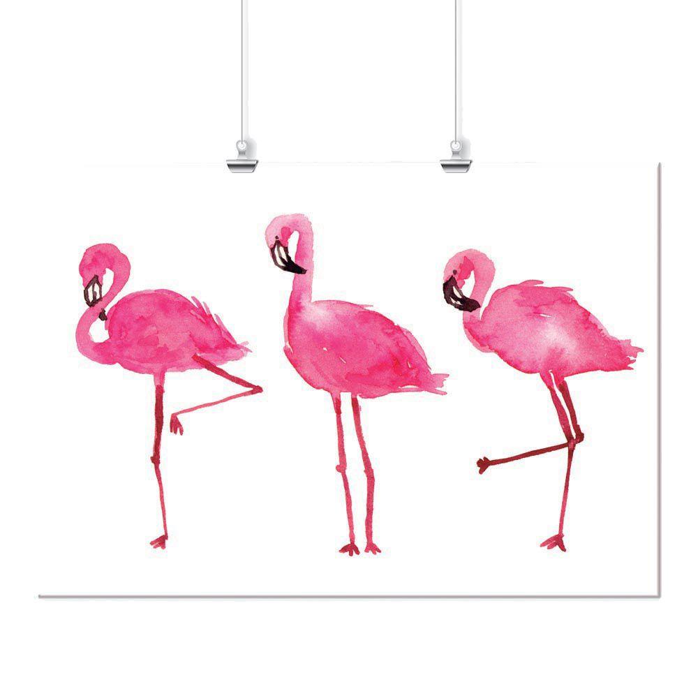Pôster - Flamingos Aquarela Rosa