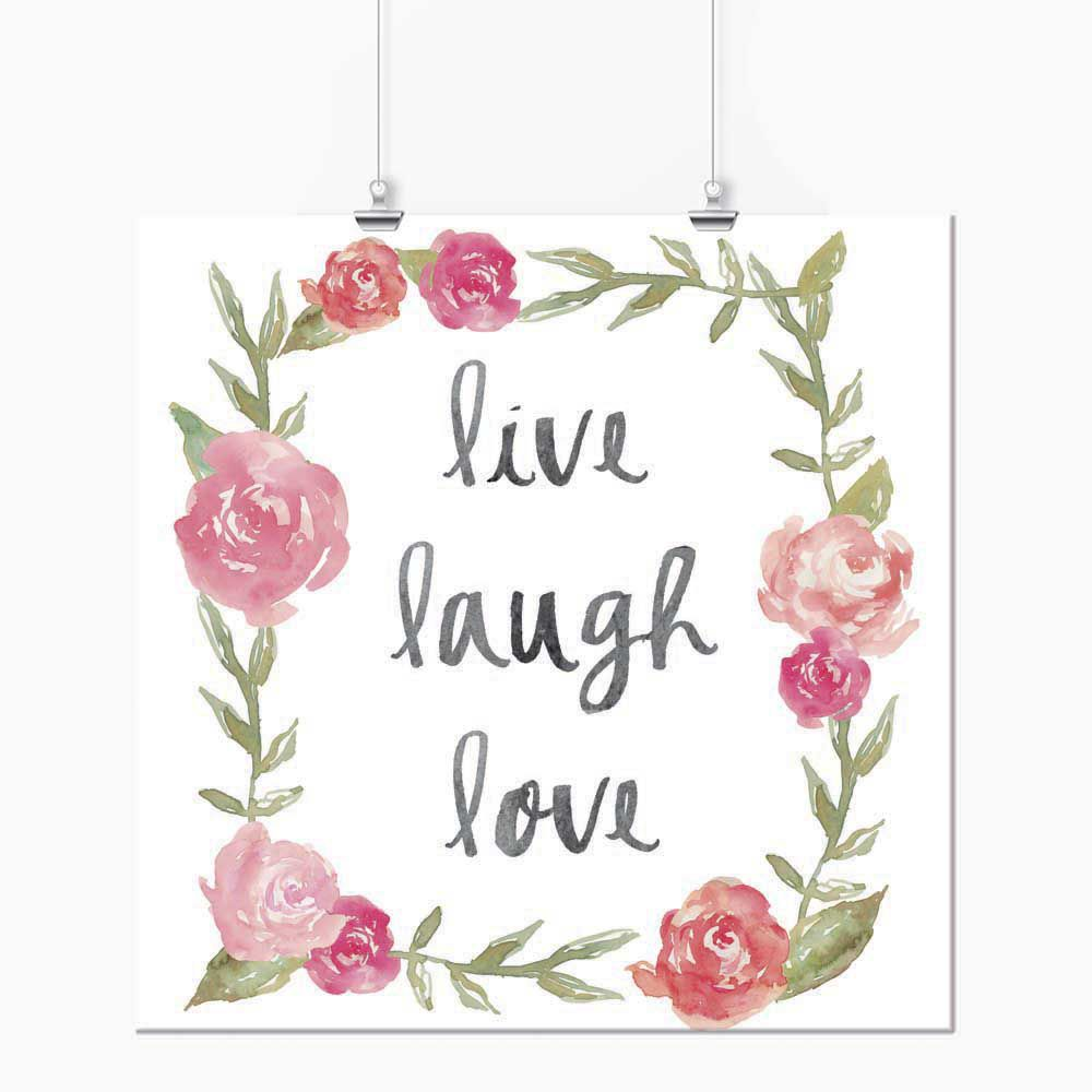 Pôster - Live Laught Love Floral Rosa