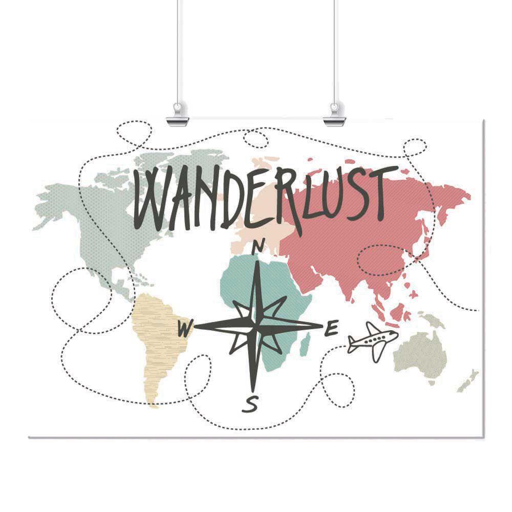 Pôster - Mapa Wanderlust Colorido