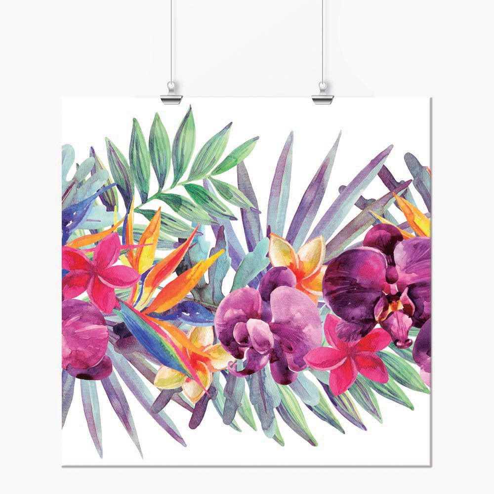 Pôster - Tropical Floral Aquarela