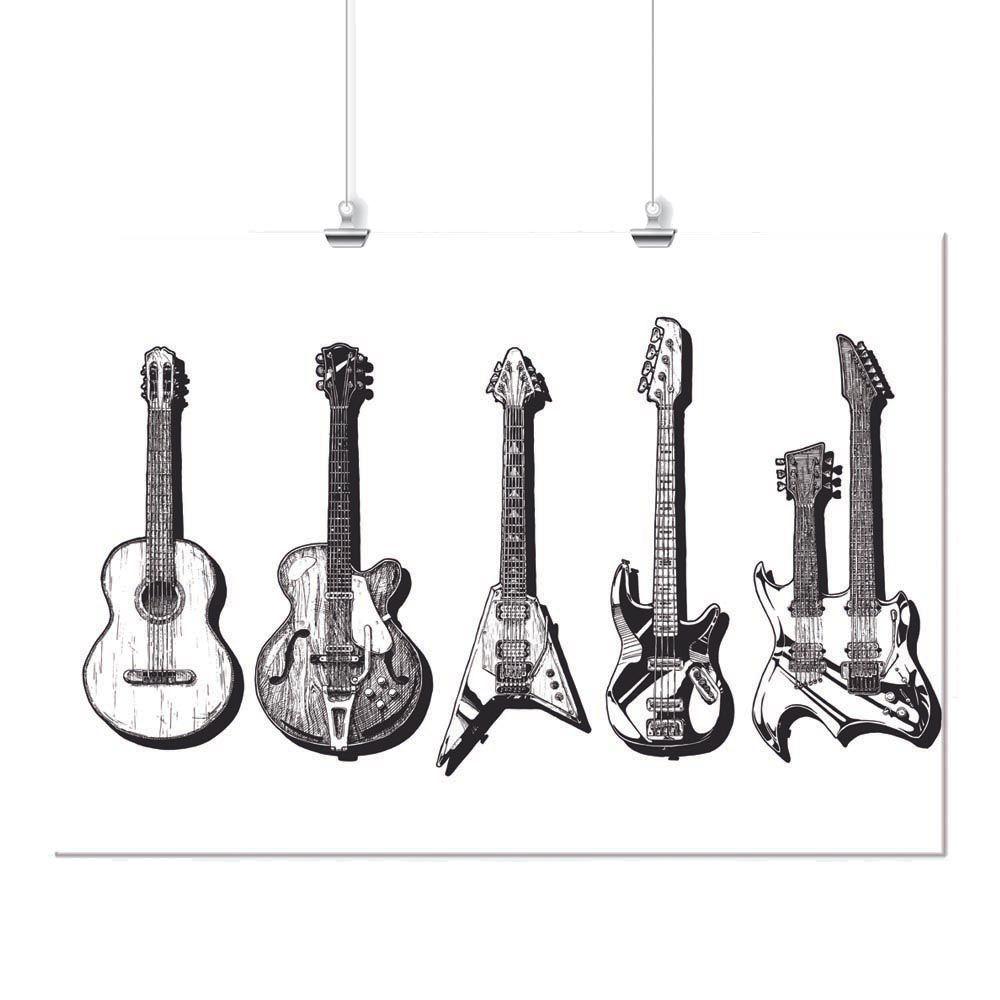 Pôster - Violão e Guitarra Preta e Branca