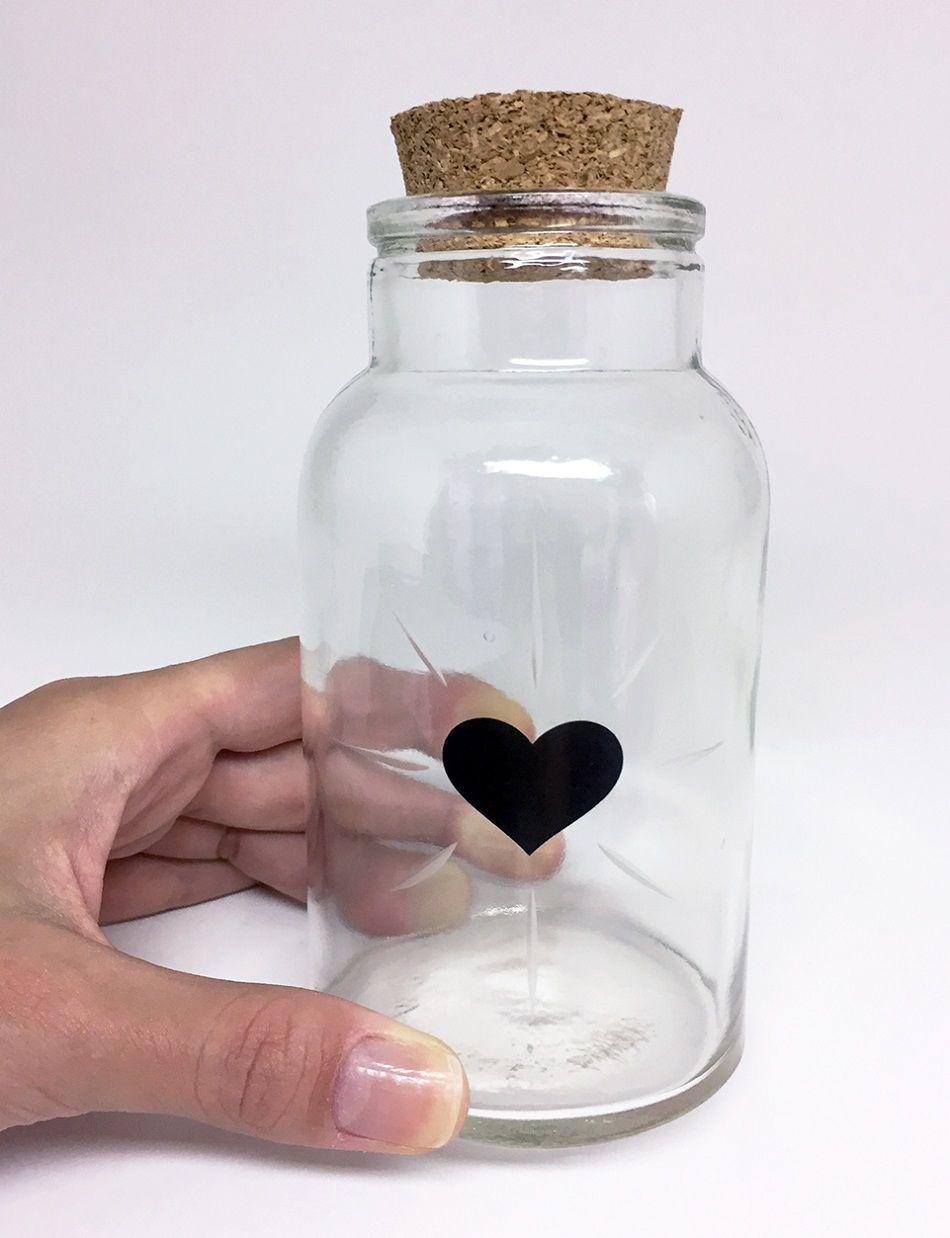 Pote de Vidro com Tampa de Rolha Coração Preto