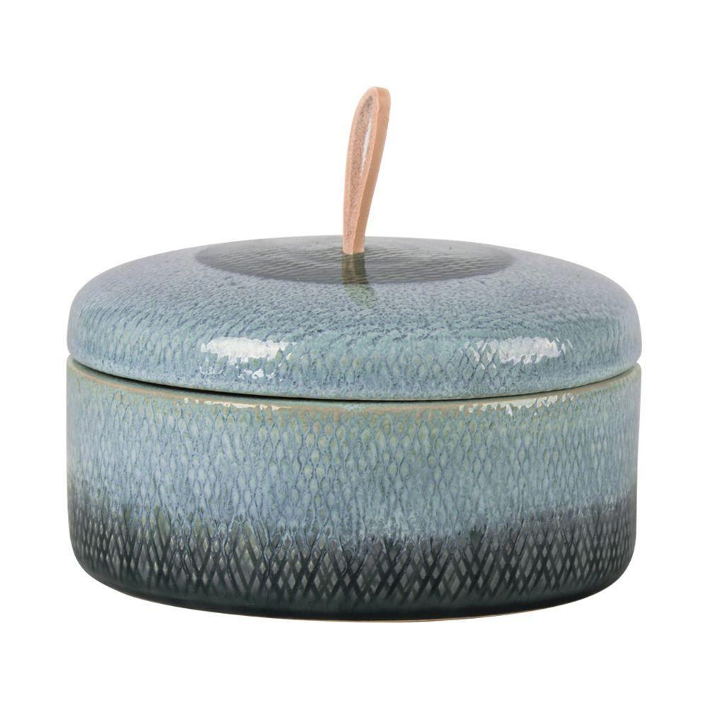 Pote Decorativo com Tampa em Cerâmica Azul e Preto e Alça em Couro