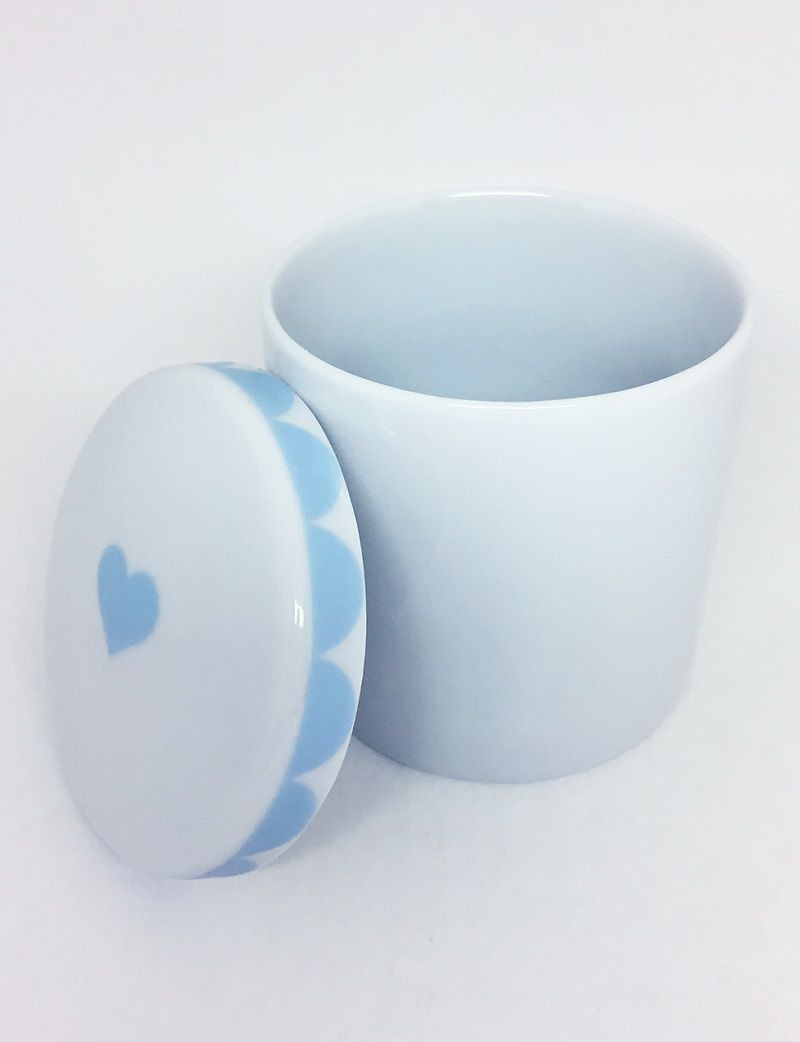 Pote para Bebê Higiene com Tampa Branco e Azul Coração