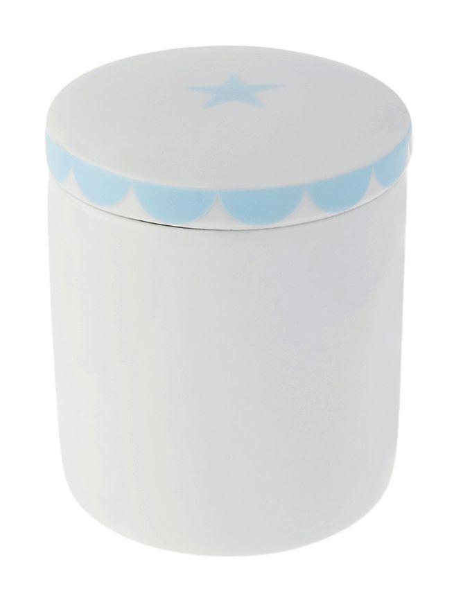 Pote para Bebê Higiene com Tampa Branco e Azul Estrela
