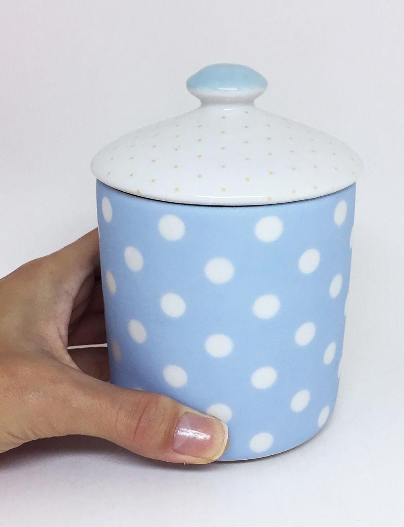 Pote para Bebê Higiene com Tampa Branco e Azul Poá