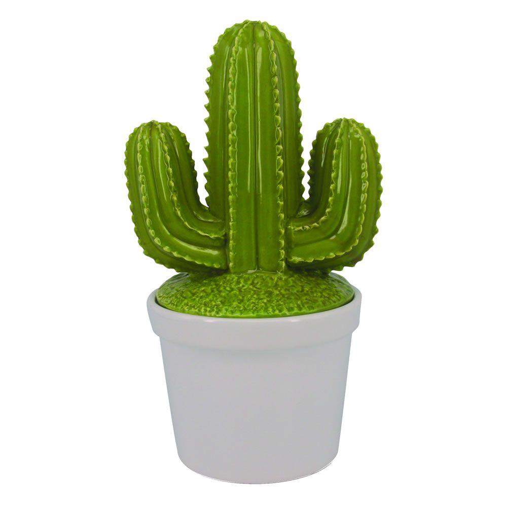 - Pote - Vaso cacto verde com tampa grande