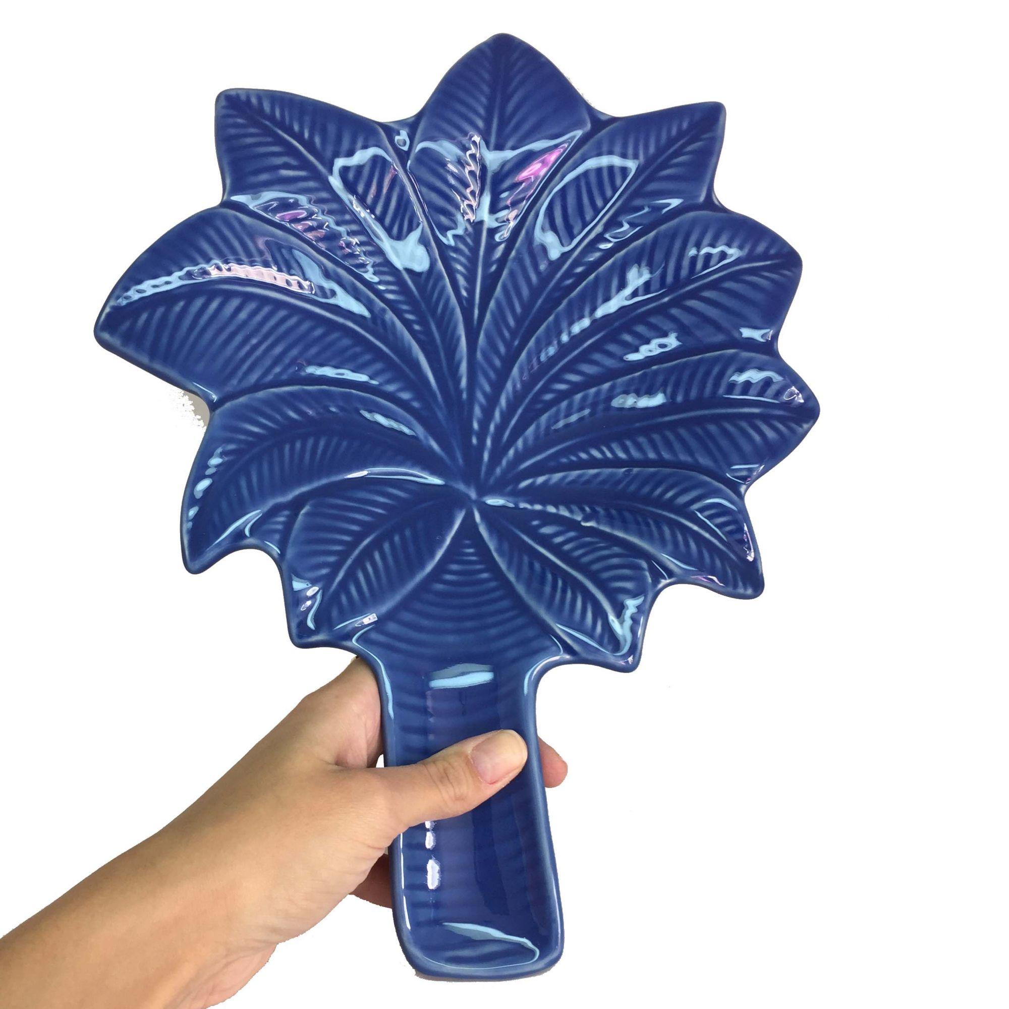 Prato Travessa de Cerâmica Azul Coqueiro