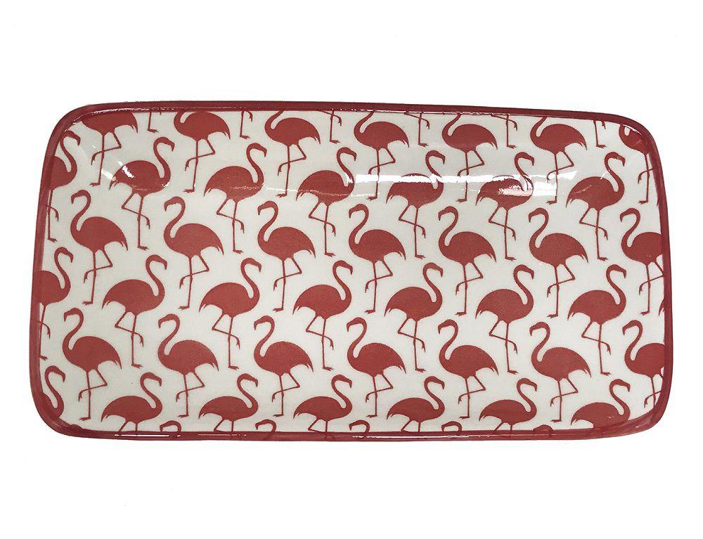 Prato Travessa Retangular Flamingos Branco e Vermelho