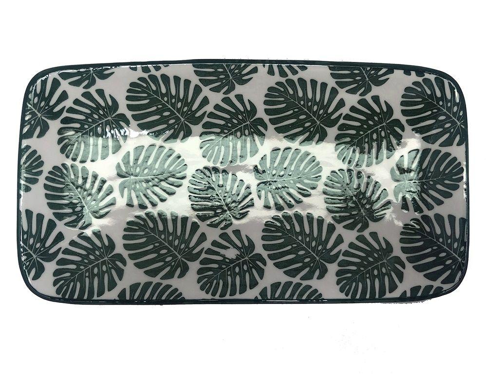 -Prato - Folha Costela de Adão cerâmica branco e verde