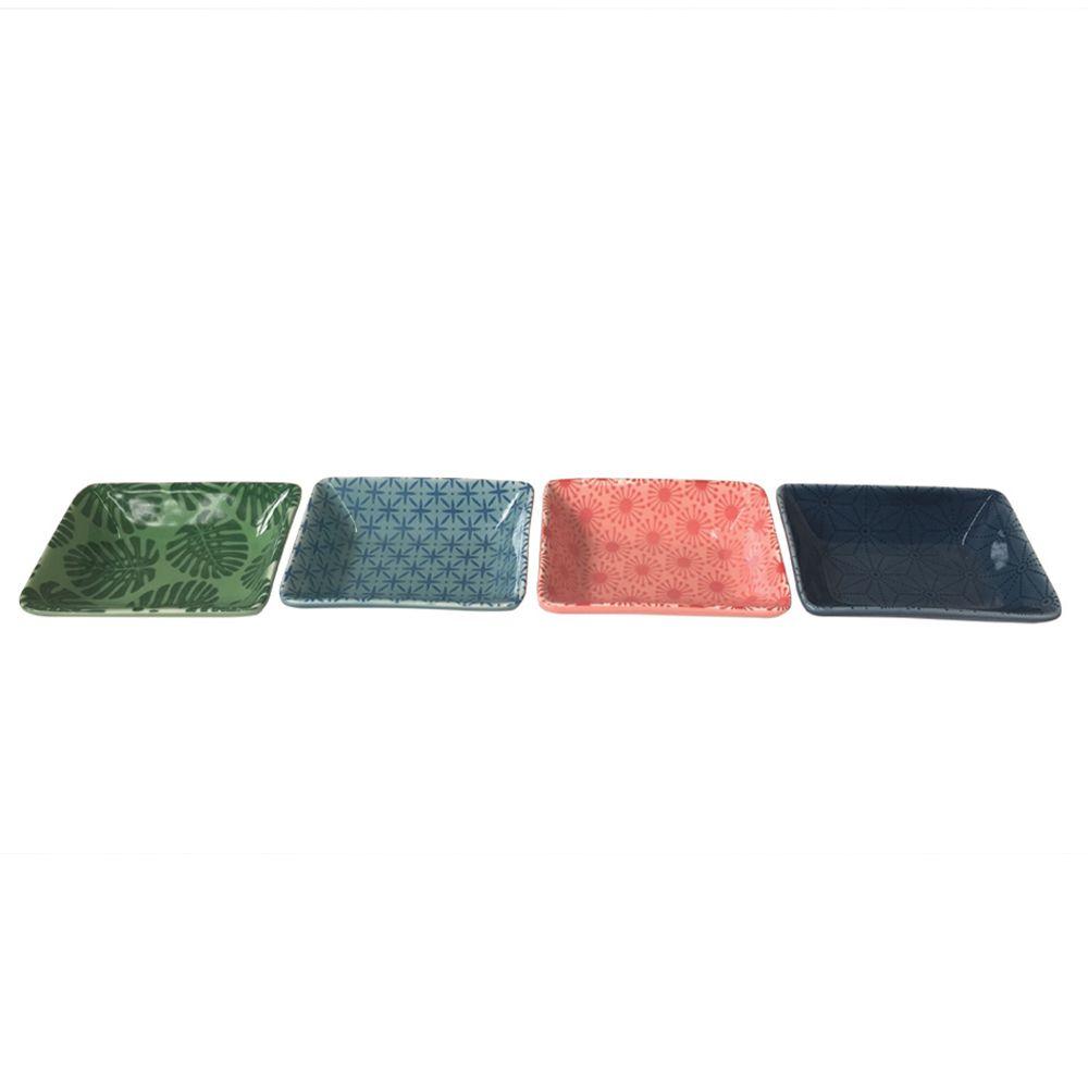 Prato Decorativo Multiuso Quadrado Colorido 4 unidades