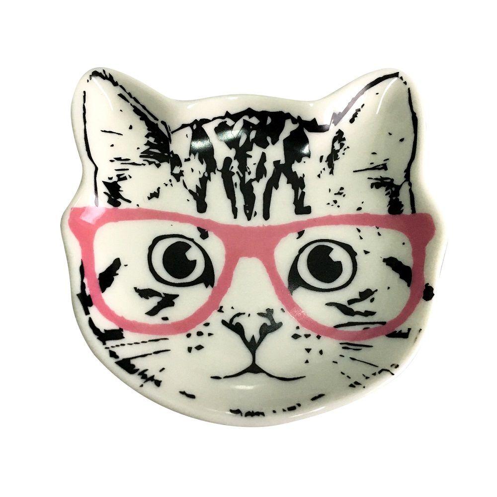Prato Decorativo Multiuso Gato de Óculos Branco
