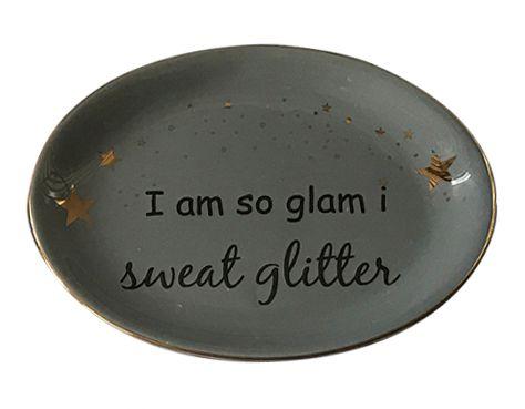 Prato Decorativo Multiuso Glitter Cinza