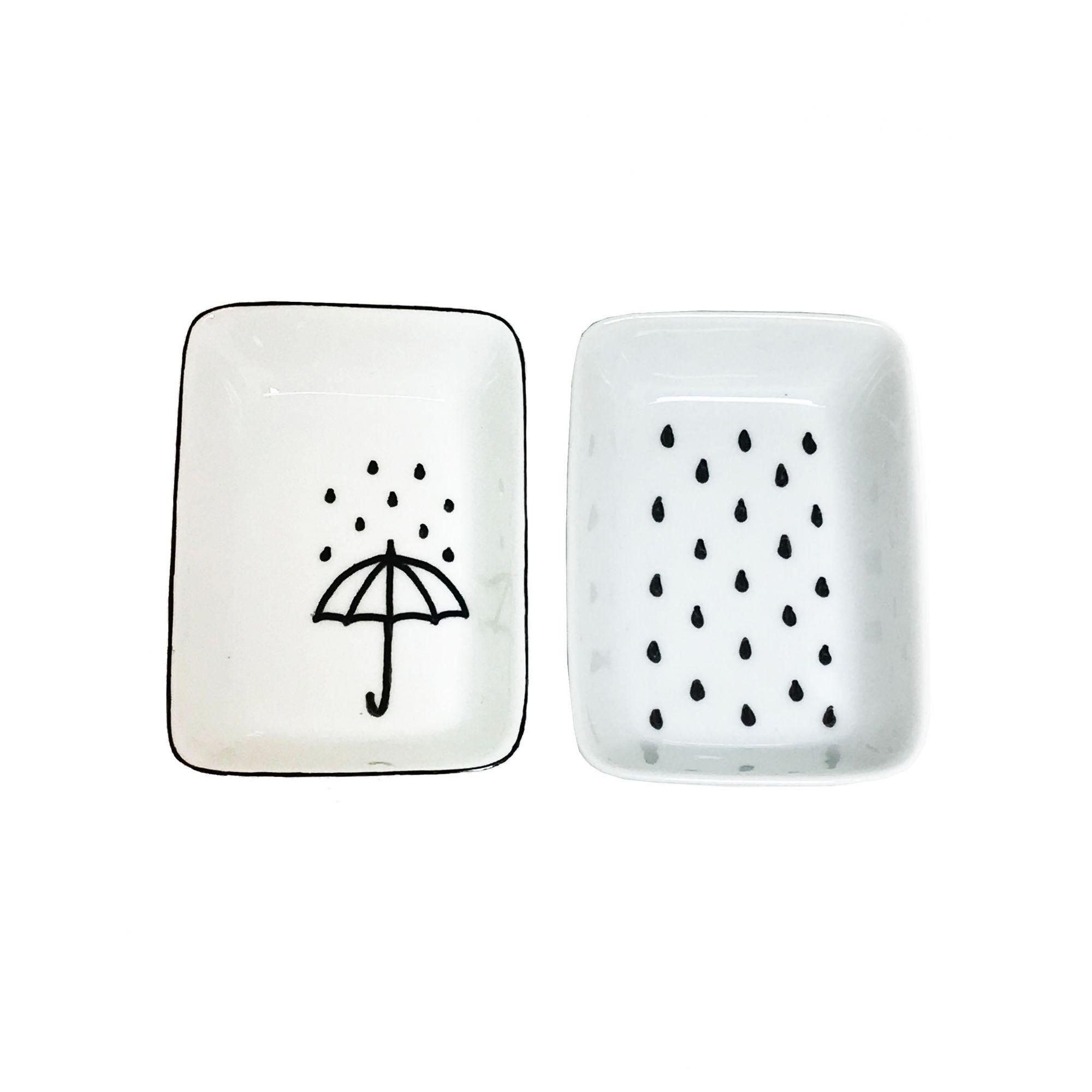 Prato Decorativo Multiuso Guarda-chuva Preto e Branco 2 Unidades