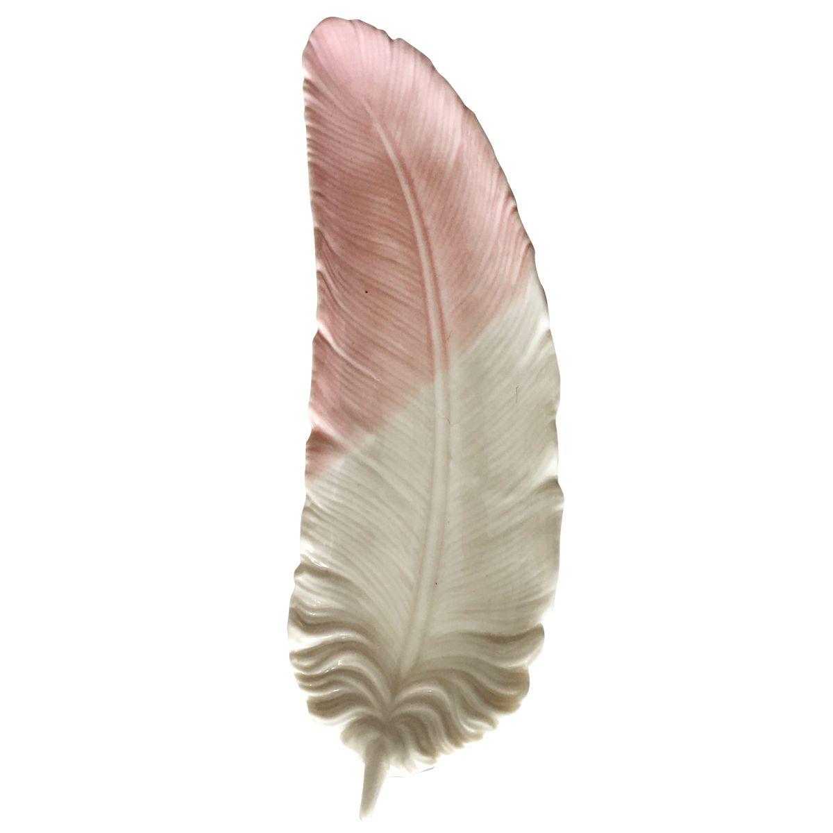Prato Decorativo Multiuso Pena Rosa e Branco