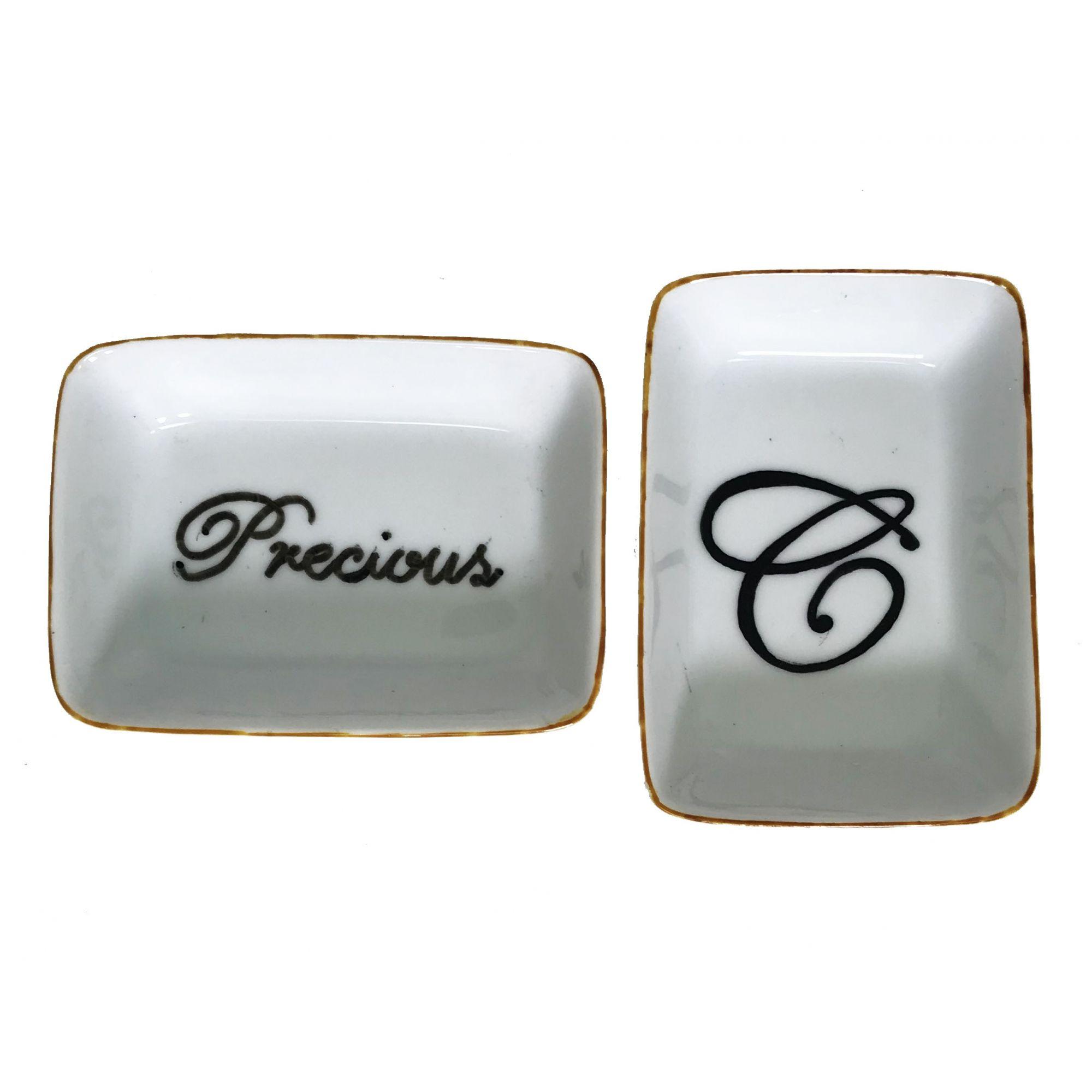 - Prato multiuso - Precious e 1 letra personalizada preto, branco e dourado 2 unidades