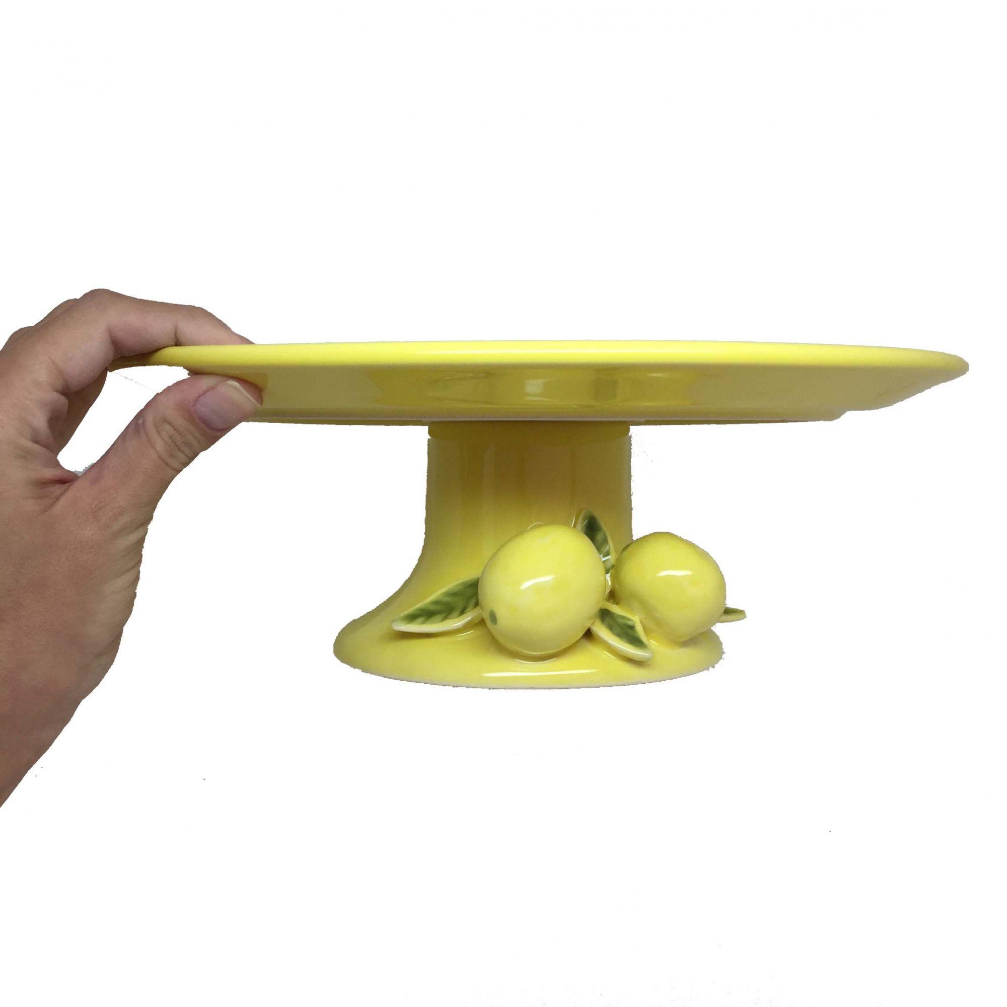 Prato para Bolo com Pé Amarelo Limão Siciliano