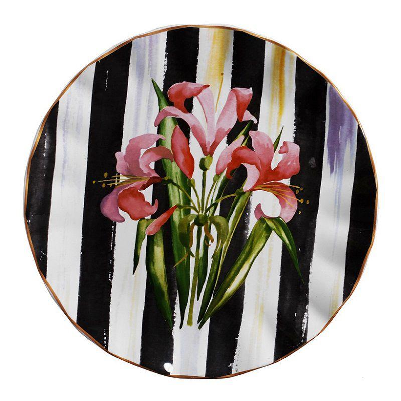 Prato para Servir de Cerâmica Listrado Floral