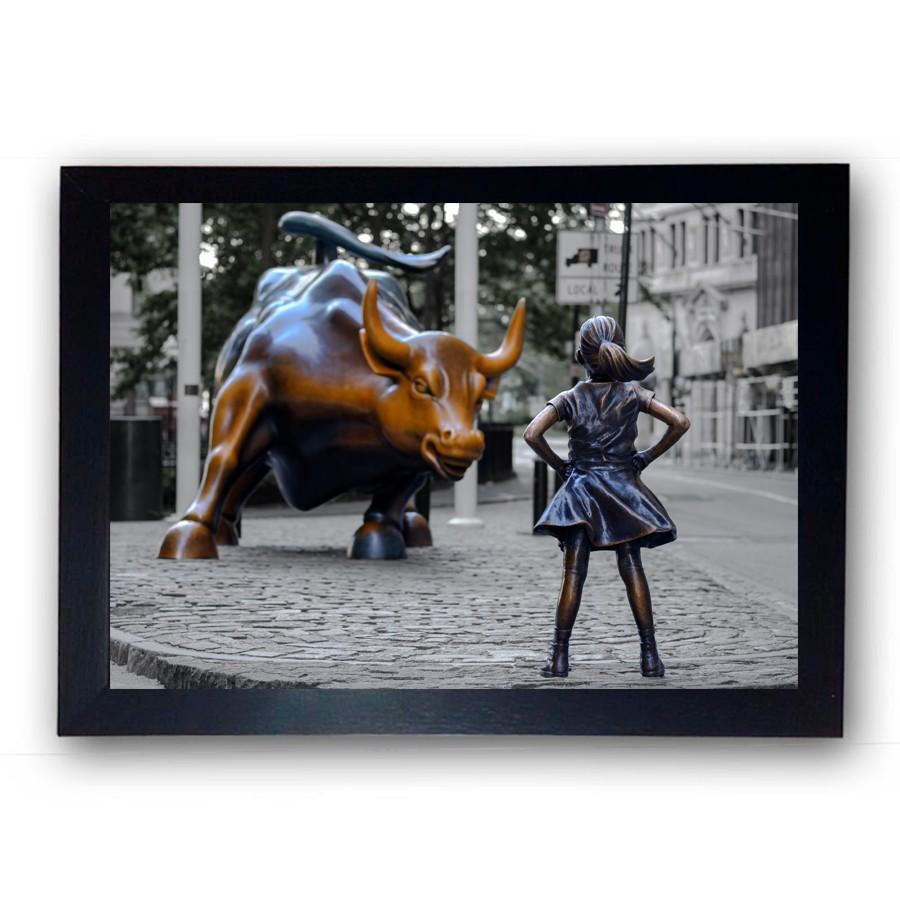 Quadro com Moldura Fearless Girl Wall Street Colorido 42x29cm