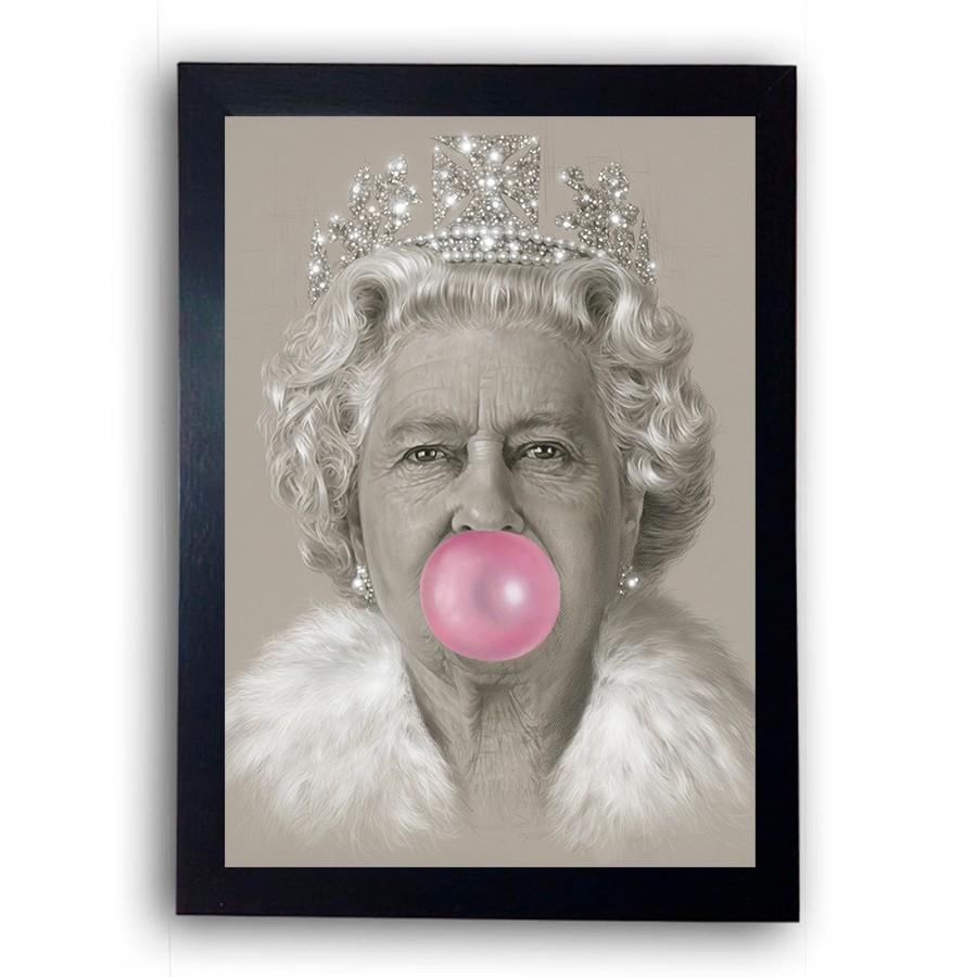 Quadro com Moldura Rainha Elizabeth Chiclete Colorido 29x42cm