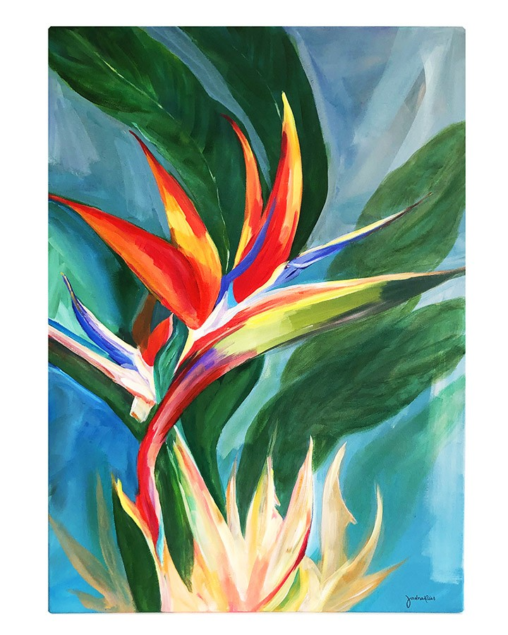 Quadro Decorativo Pintado à Mão Estrelícia Colorida 50x70cm