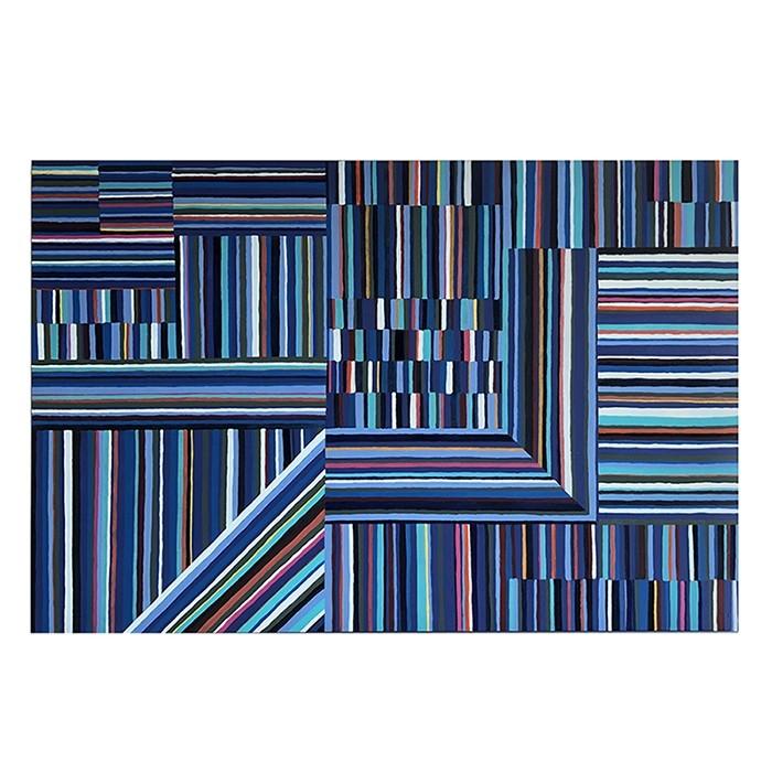 Quadro Decorativo Pintado à Mão Listras Coloridas 120x80cm
