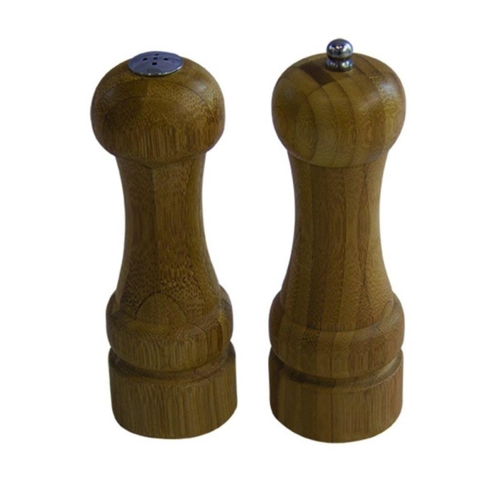 -Saleiro e moedor de pimenta - Conjunto bambu