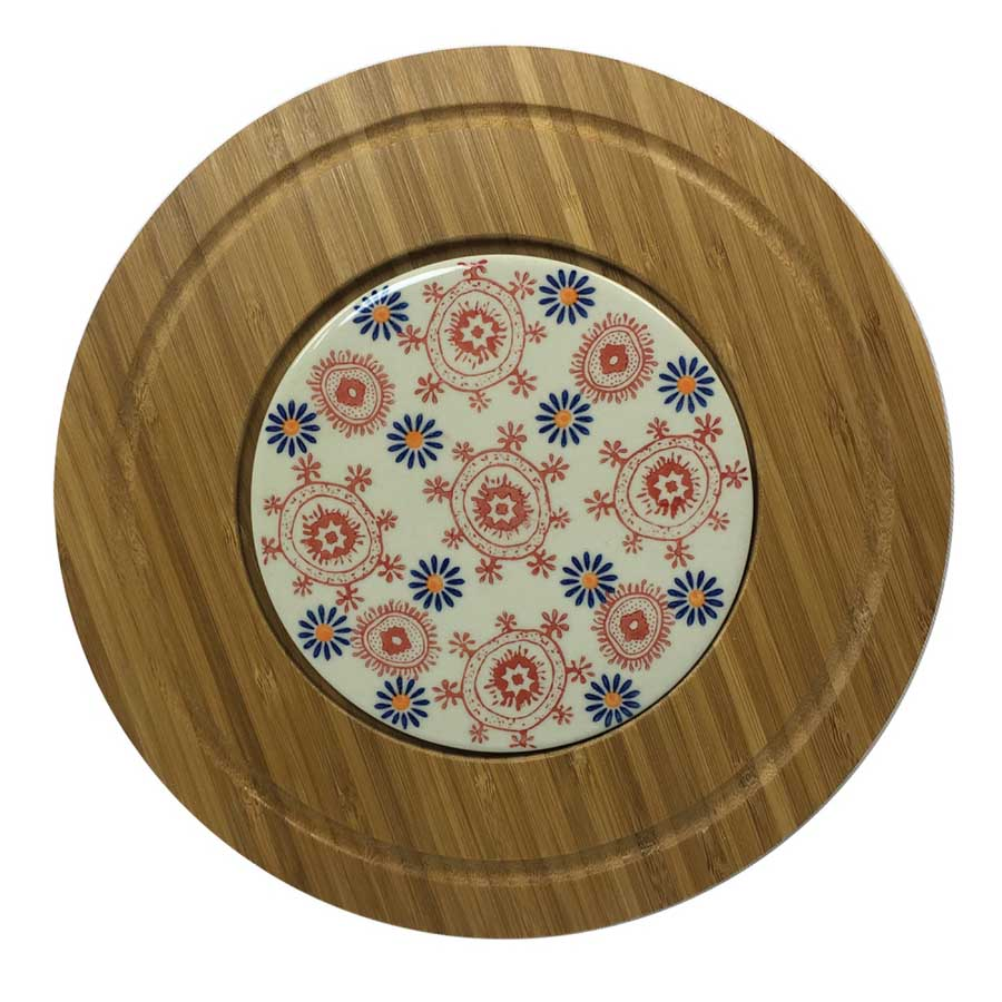 Tábua de servir Bambu e Cerâmica Estampada Laranja e Azul