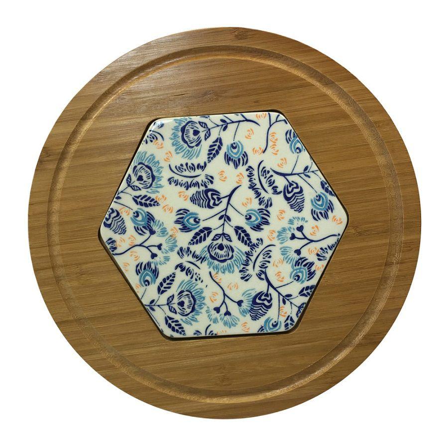 Tábua de servir Bambu e Cerâmica Estampada Azul