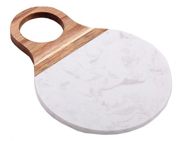 - Tábua de servir - Redonda de mármore branco grande
