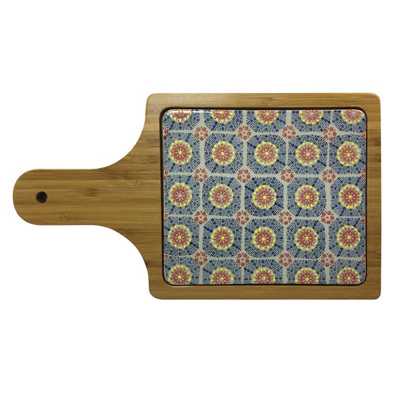 Tábua Retangular de Bambu e Cerâmica Colorida