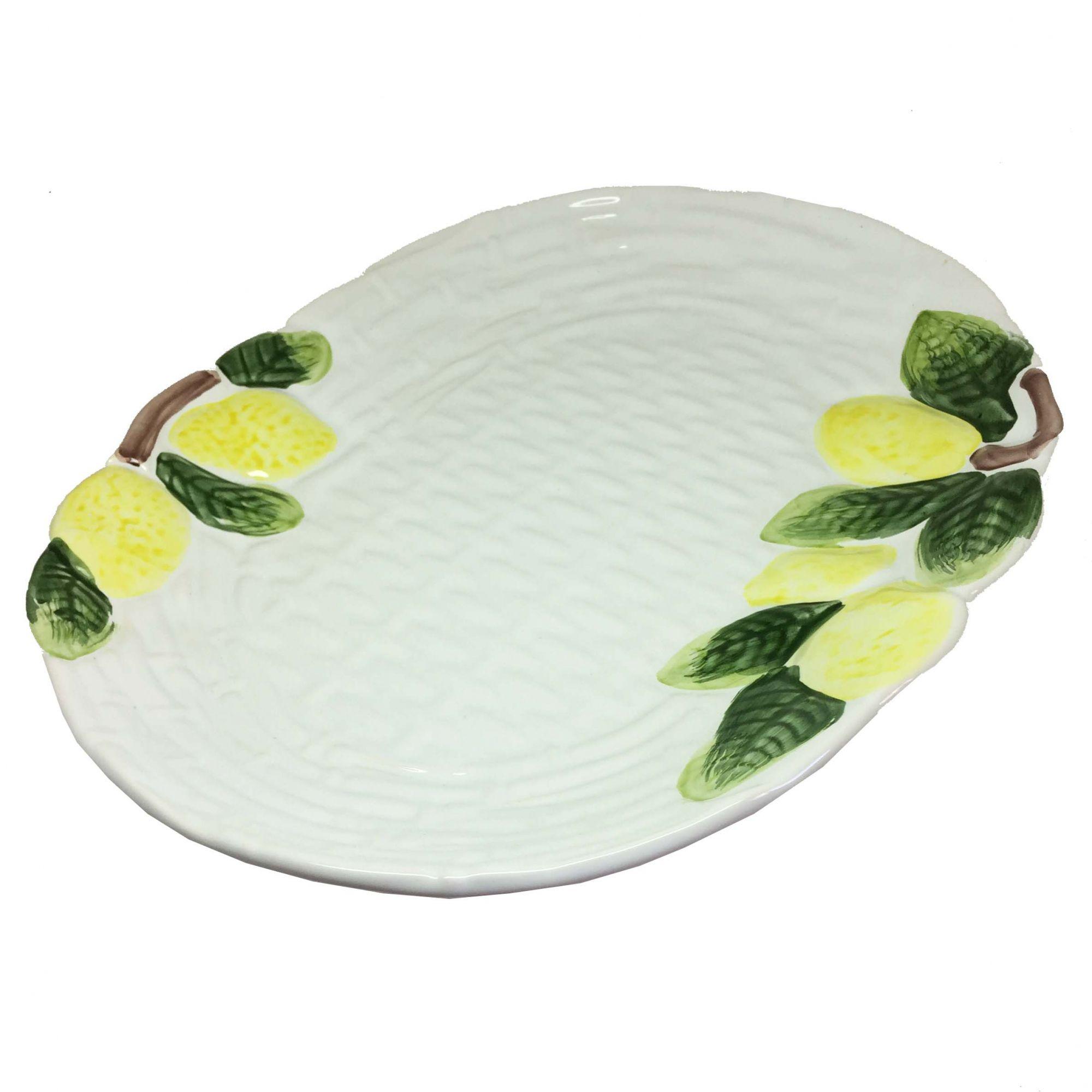 Travessa de Cerâmica Branca Limão Siciliano