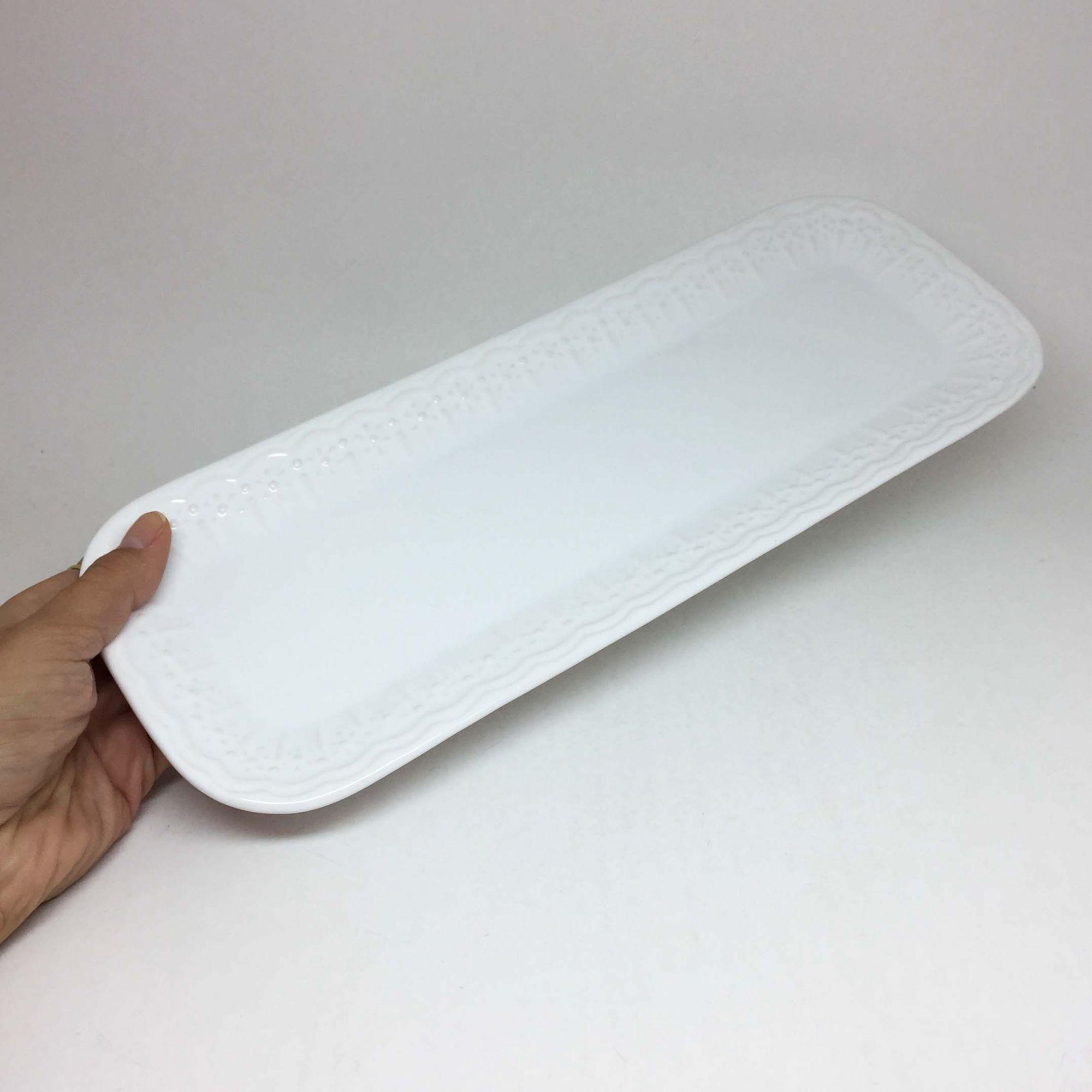 Travessa de Cerâmica Retangular Branca Clássica