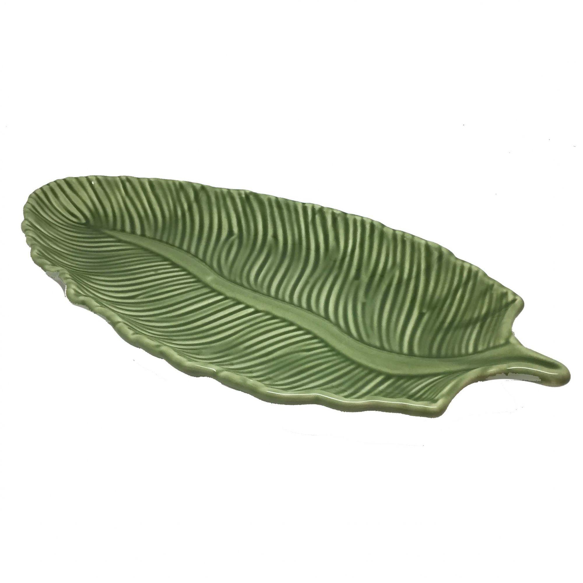 Travessa de Cerâmica Verde Folha