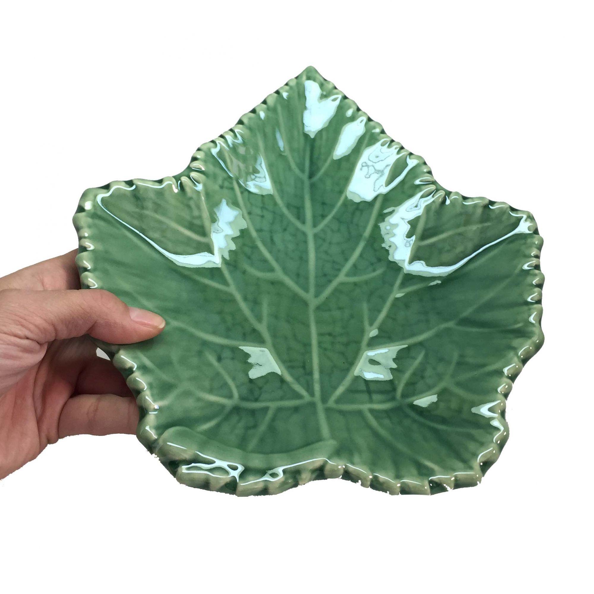 Travessa de Cerâmica Verde Folha de Uva