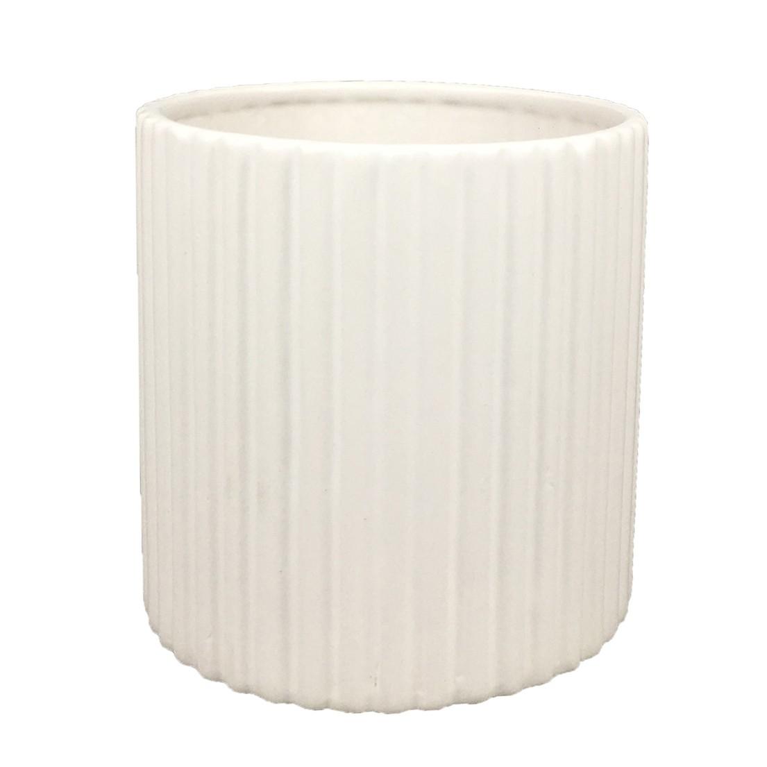 Vaso Cachepô de Cerâmica Listrado Branco