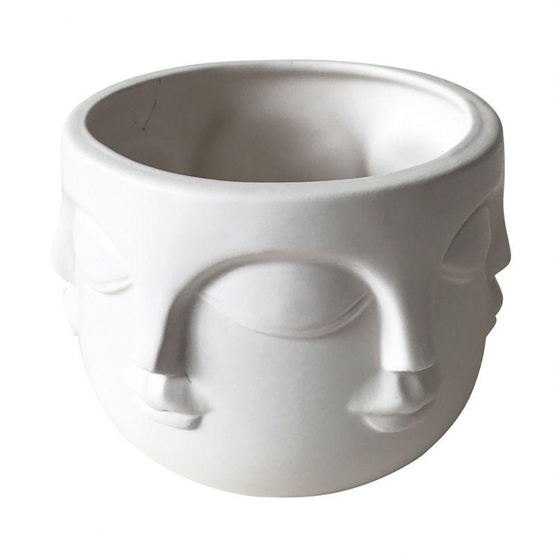 Vaso Cachepô de Cerâmica Rosto Branco