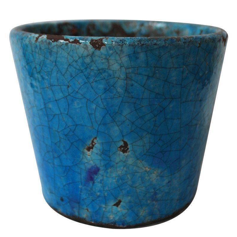 -Vaso - Cachepot cerâmica azul