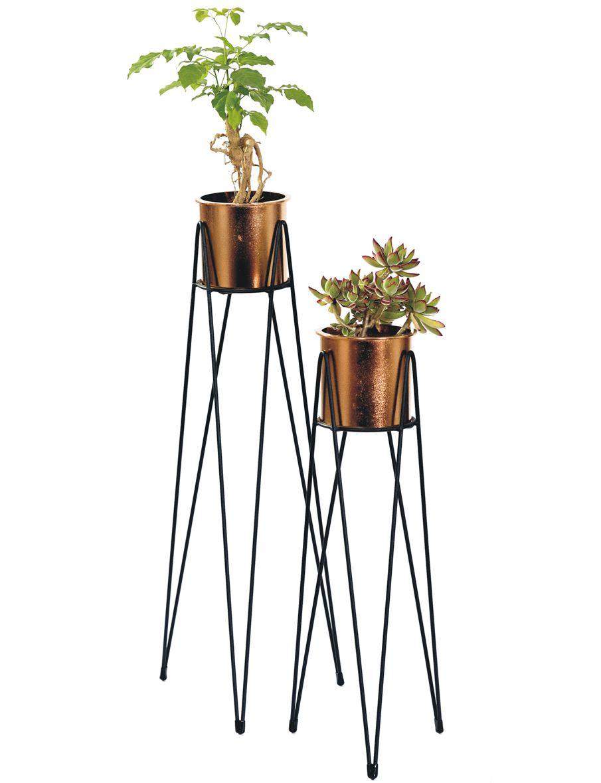 - Vaso - Cachepot de chão metal cobre