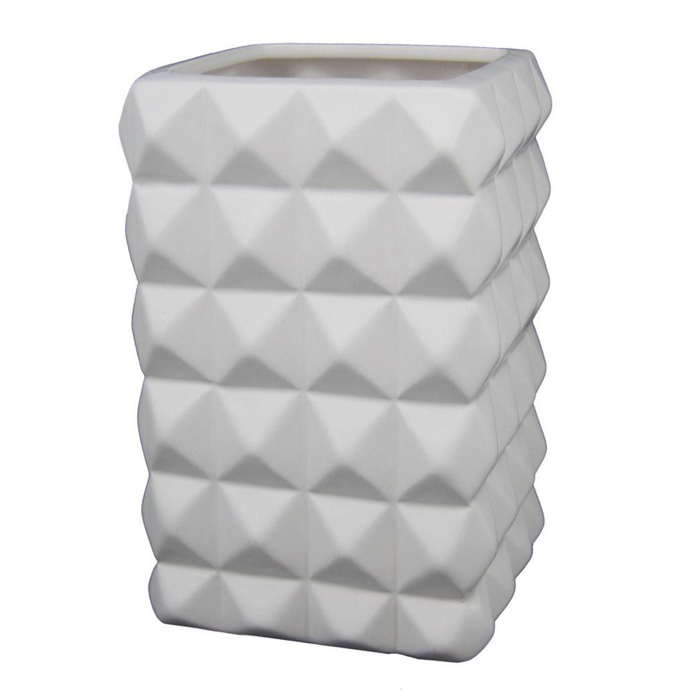 Vaso Decorativo de Cerâmica Branco com Textura