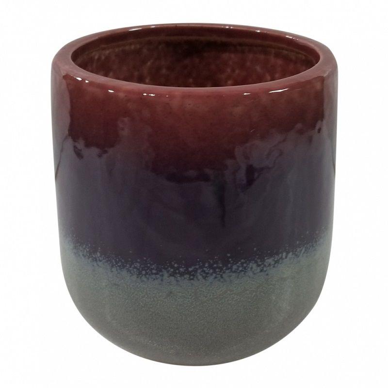 - Vaso decorativo de cerâmica vermelho e cinza