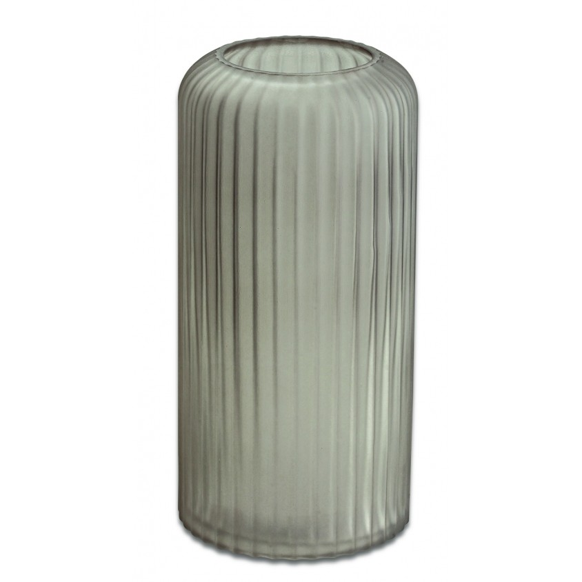 Vaso Decorativo em Vidro Listrado Fumê