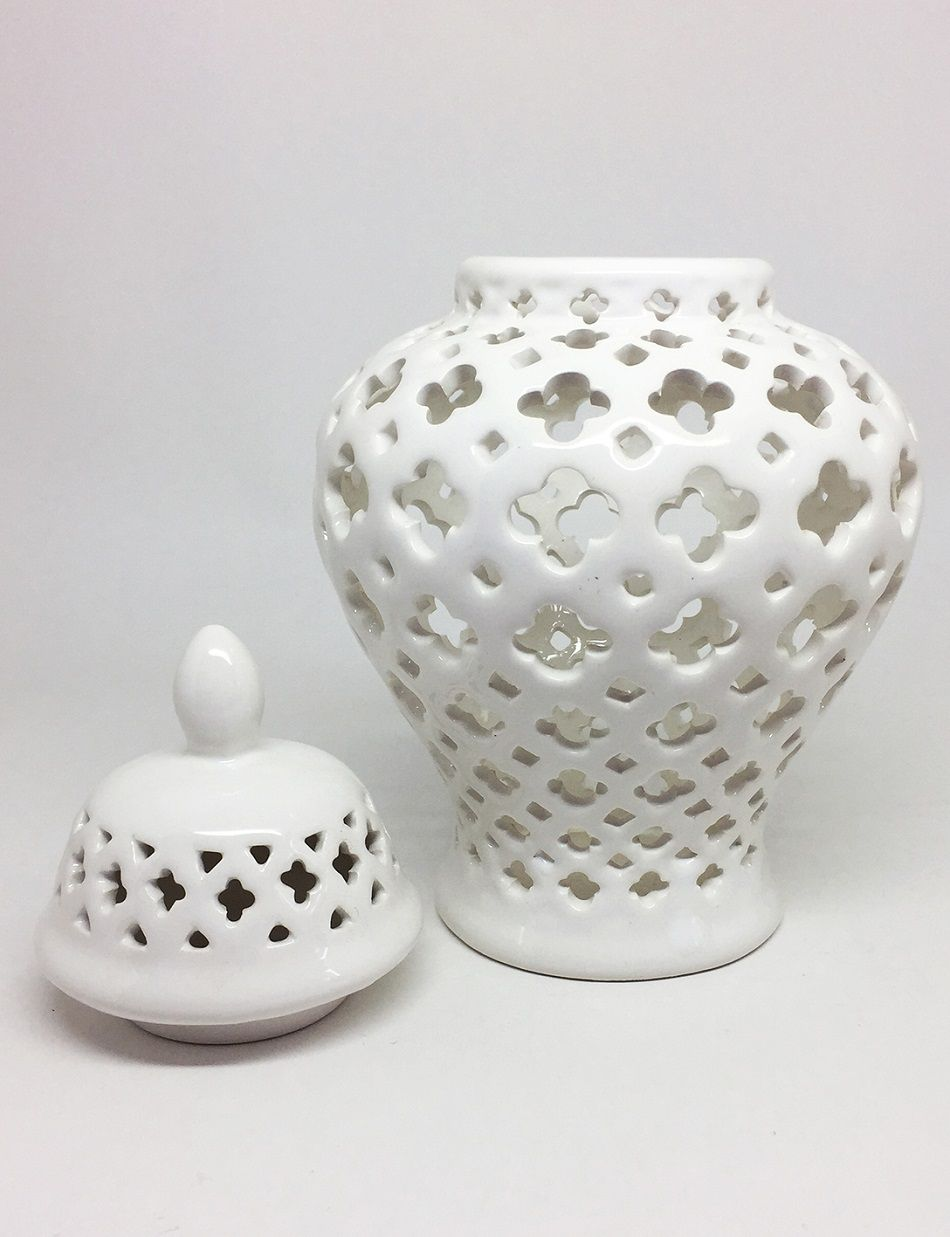 Vaso Potiche em Cerâmica Branco Renda