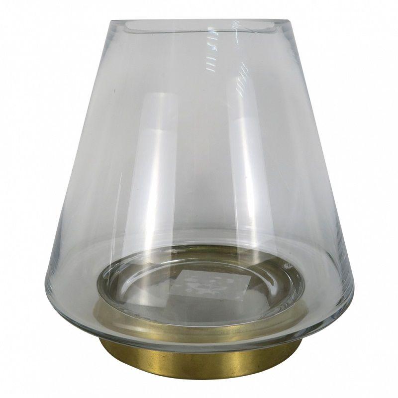 - Vaso - Vidro e metal dourado