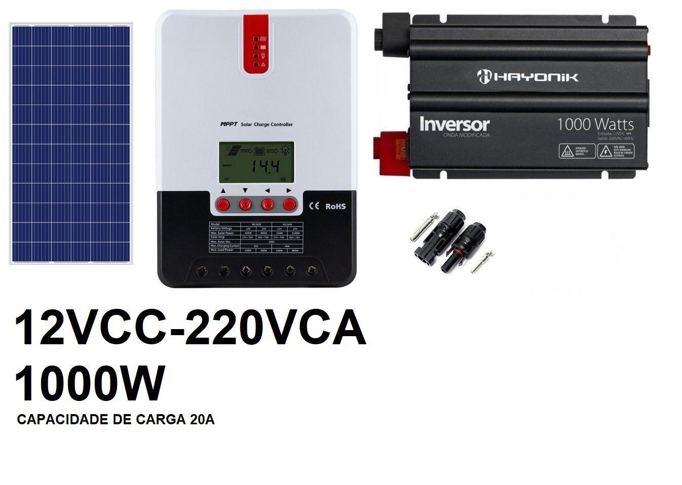 KIT OFF GRID - 1000W220VCA 265Wp (PARA BANCO DE BATERIAS EM 12VCC)