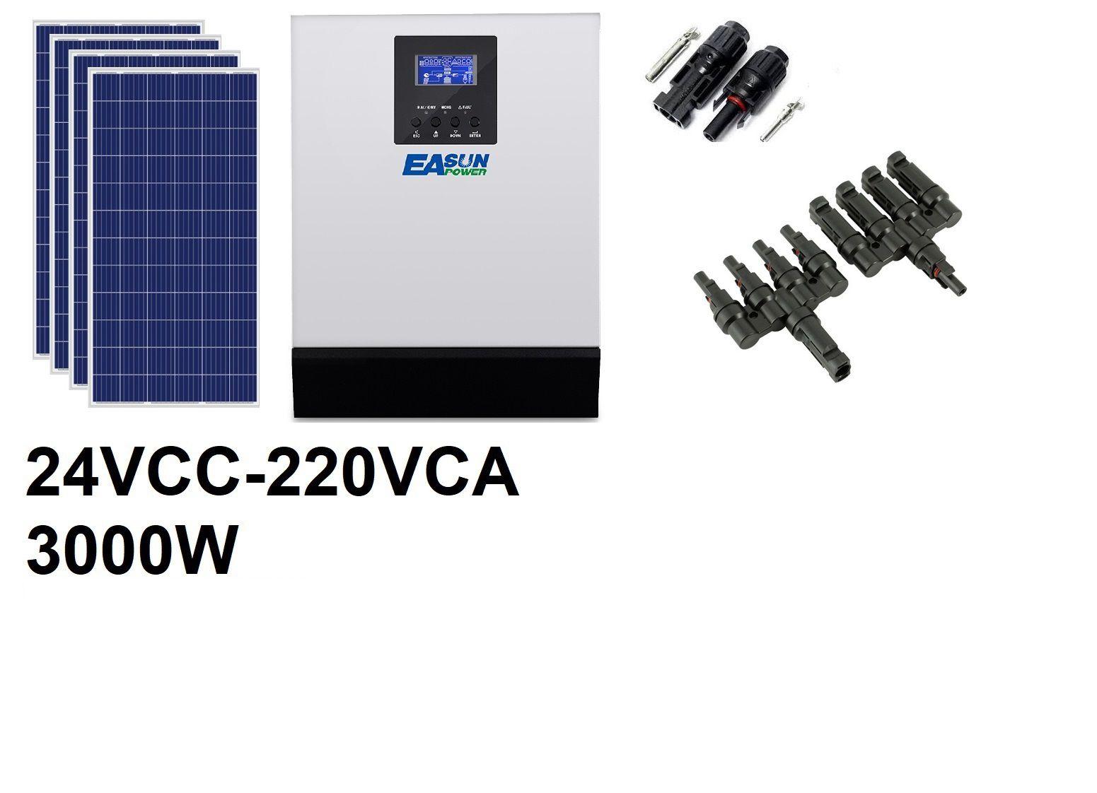 KIT OFF GRID - 3000W220VCA 1060Wp (PARA BANCO DE BATERIAS EM 24VCC)
