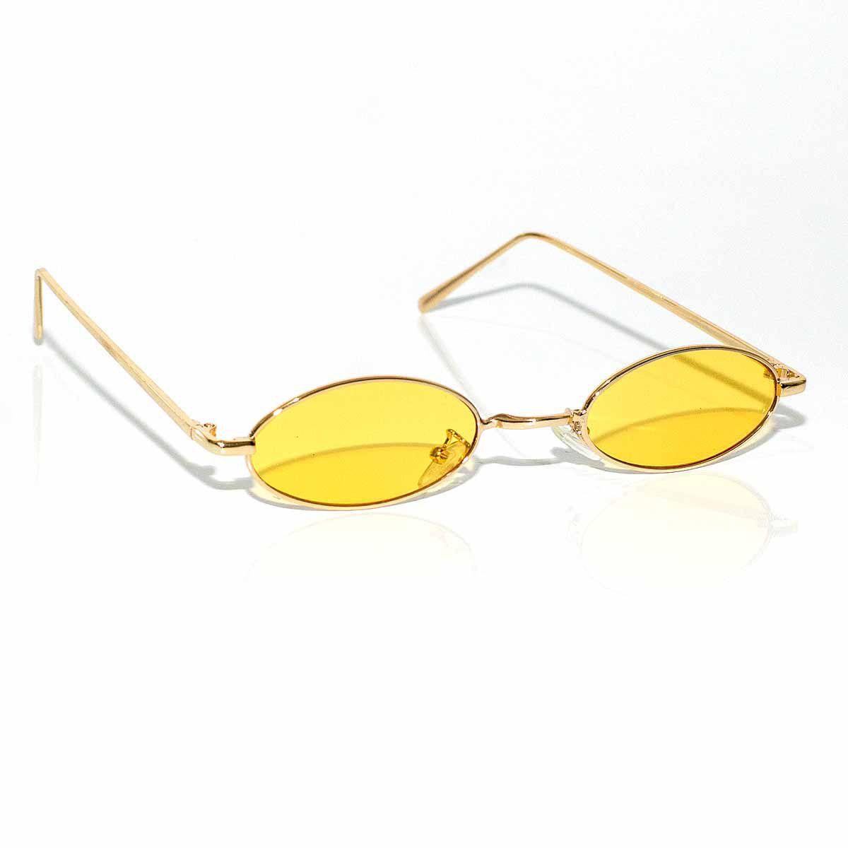 Óculos De Sol Oval Vintage Retro Com Lente Amarelo Transp