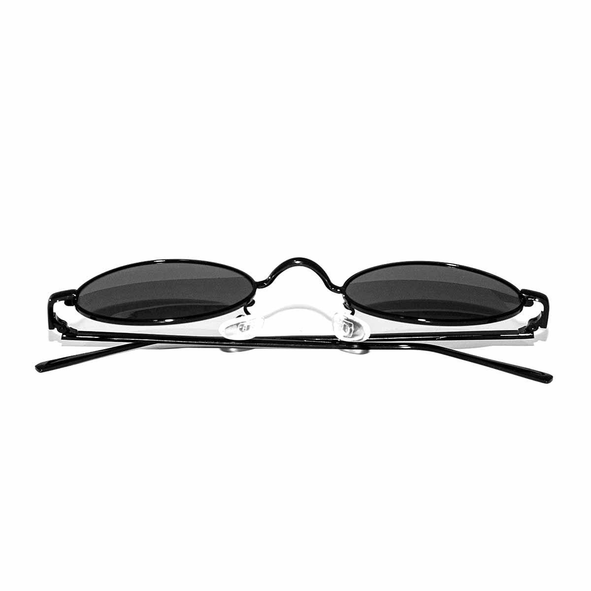 Óculos De Sol Oval Vintage Retro Com Lente Preto Transp