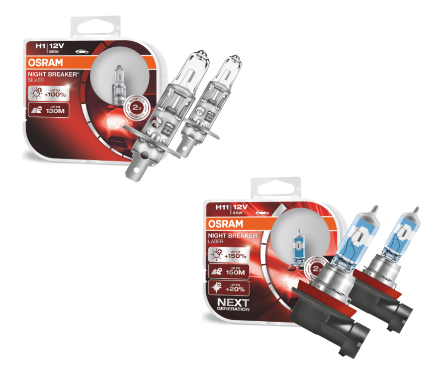 Kit Lâmpadas P/ CRV 2007 até 2011 Osram H1 Silver 100% e H1 Laser 150%